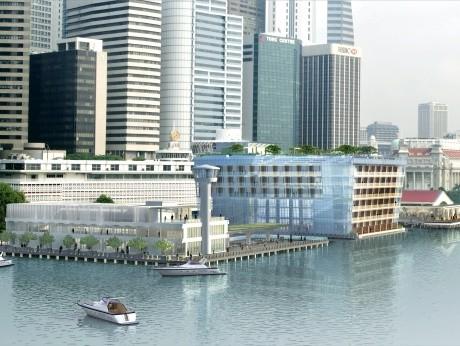 マリーナベイの旧港湾歴史地区を再開発し、新たな複合商業地区に生まれ変わった「フラトン・ヘリテージ」。左から、「カスタムズ・ハウス」「フラトン・ベイ・ホテル」「クリフォード・ピア」