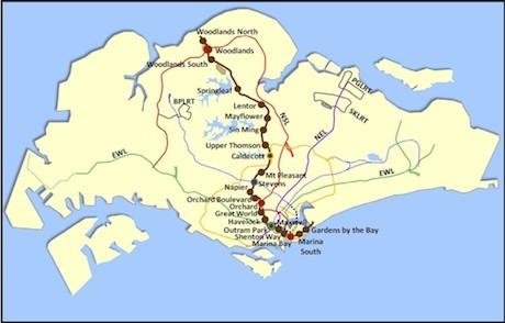トムソンラインの路線図 Graphic from LTA