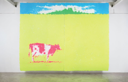 大竹伸郎さんの個展「PAPER-SIGHT」では東日本大震災をテーマにしたものも。全作品購入が可能