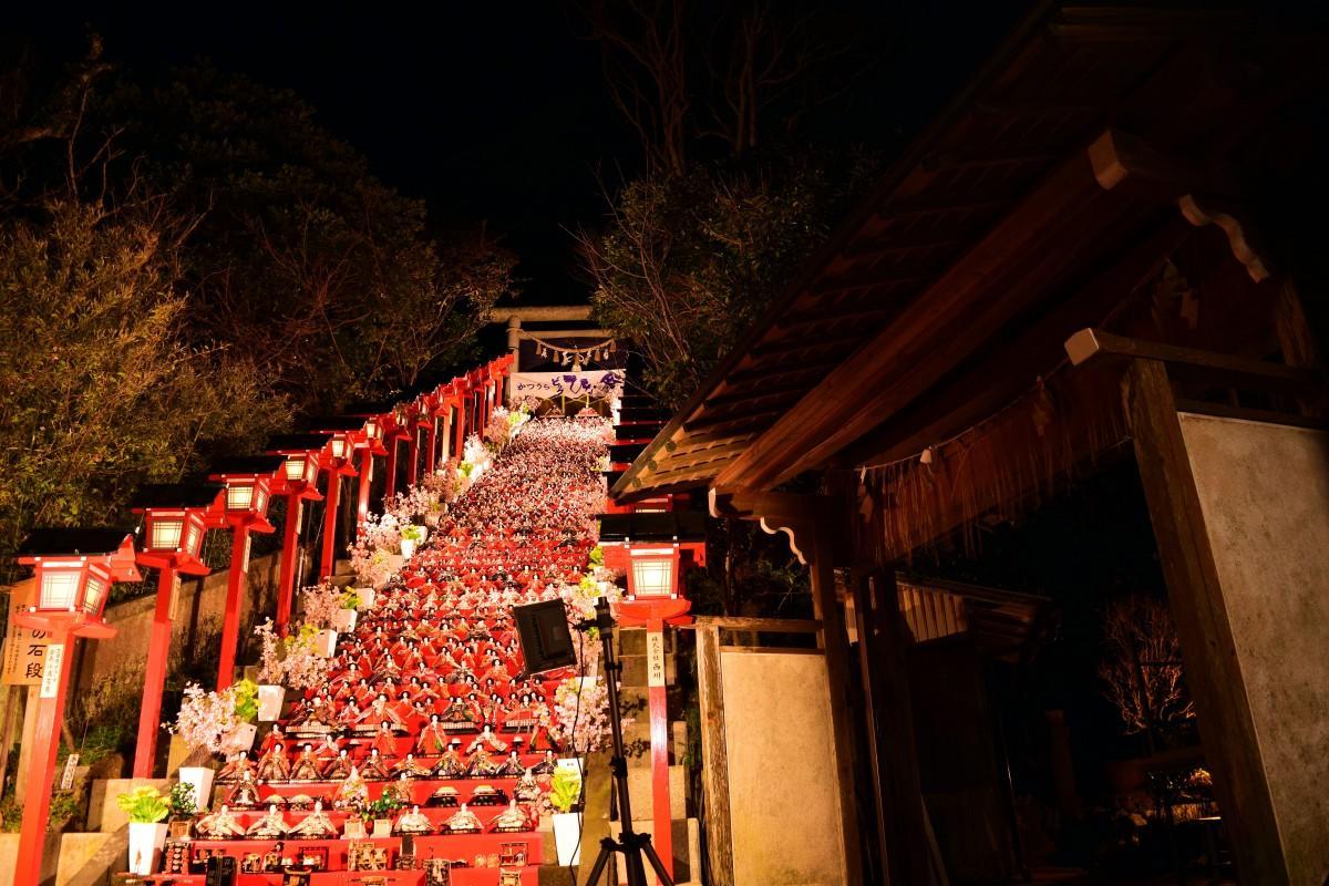 遠見岬神社のライトアップ(撮影=吉清汐音)
