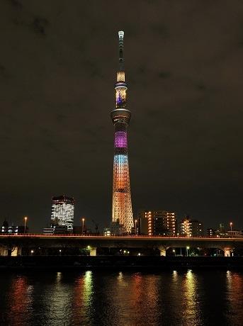 3種の特別ライティングのひとつ「ラブリーショコラ」(C)TOKYO-SKYTREE