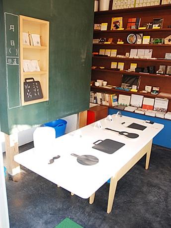 写真手前よりフライパン、カバン、ウクレレ、バケツの形に切り抜いた黒板。