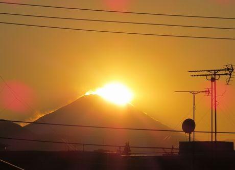光町もみじ公園(国分寺市光町1)から見たダイヤモンド富士(12月6日 蒲田みどりさん撮影)