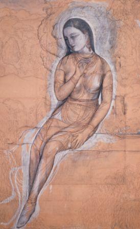 村上華岳「裸婦 画稿」1920年 京都市立芸術大学芸術資料館蔵(展示期間は7月20日~8月16日)