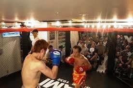ケージ(金網)を備える格闘技会場「立川コロッセオ」で、以前行われた試合の様子