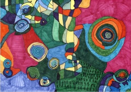 市村遼平さんの「迷路」。イラストボードに油性マーカーで着色した作品。