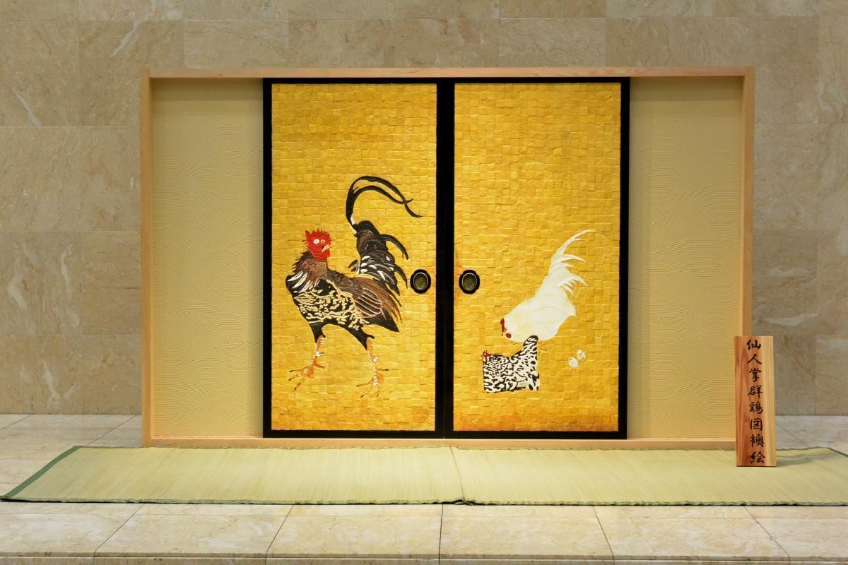 パンのピースとシュガーアートで作った伊藤若冲の「仙人掌群鶏図襖絵」