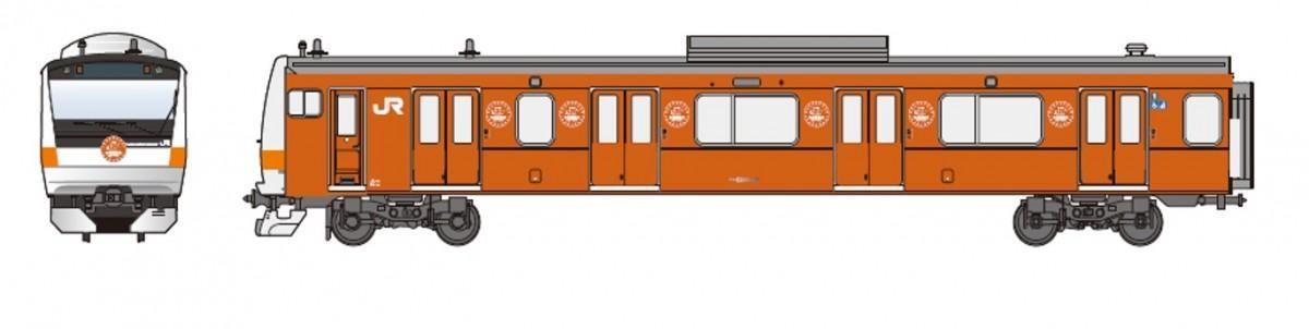 立川駅では、201系電車をモチーフにしたラッピングトレインが展示される。画像提供:JR東日本八王子支社