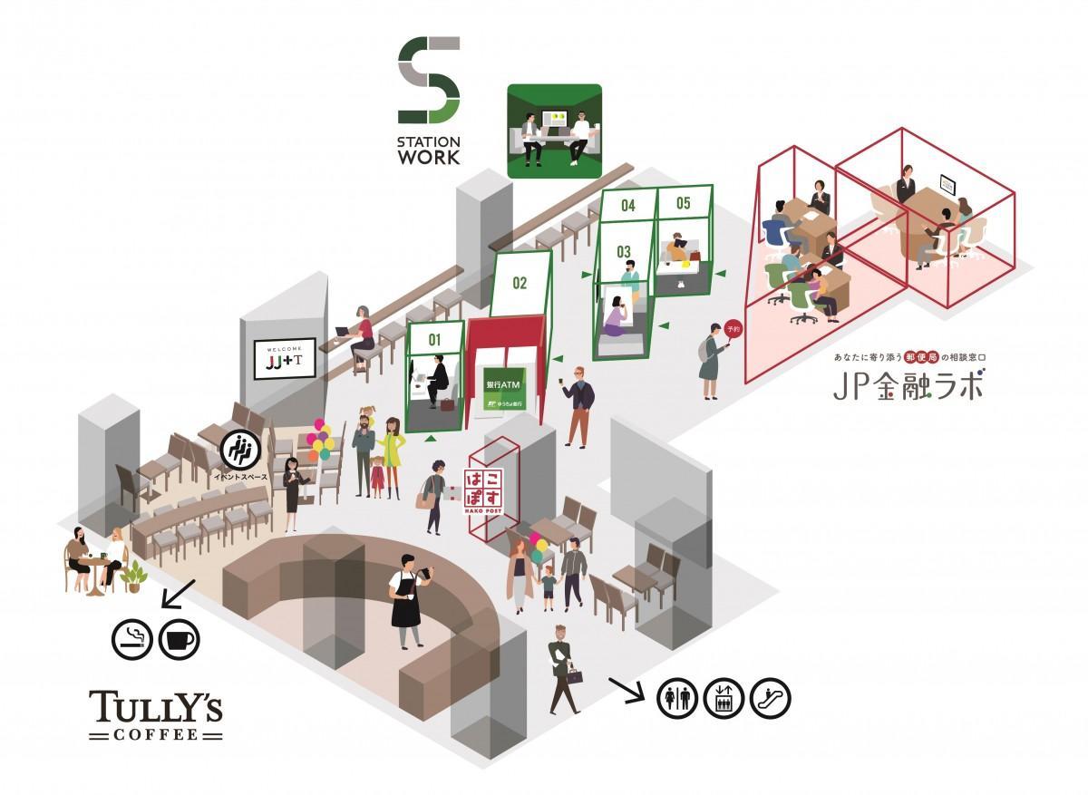 STATION WORKエリアに5台のブース型シェアオフィスが並ぶ