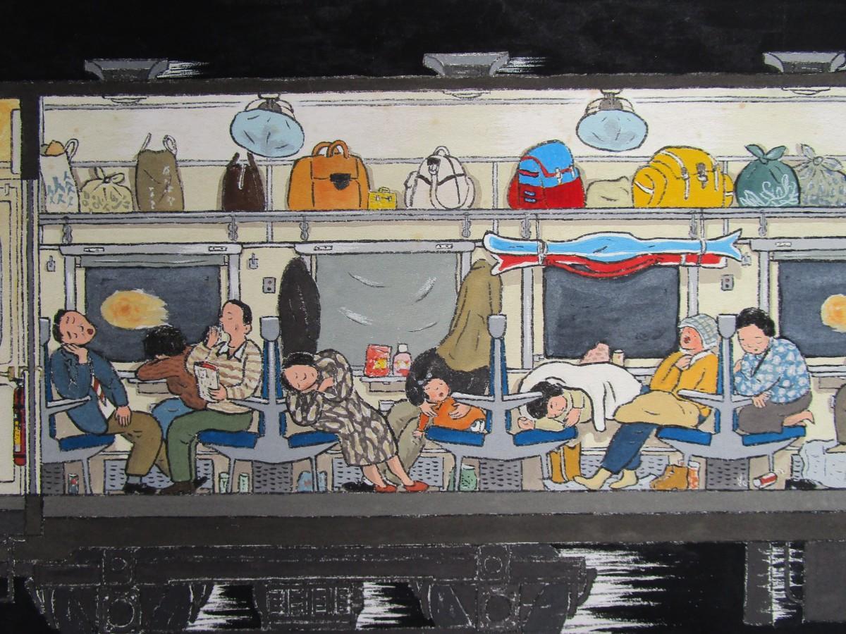 雪国へ向かう夜行列車の様子を生き生きと描写したロングセラー絵本「やこうれっしゃ」