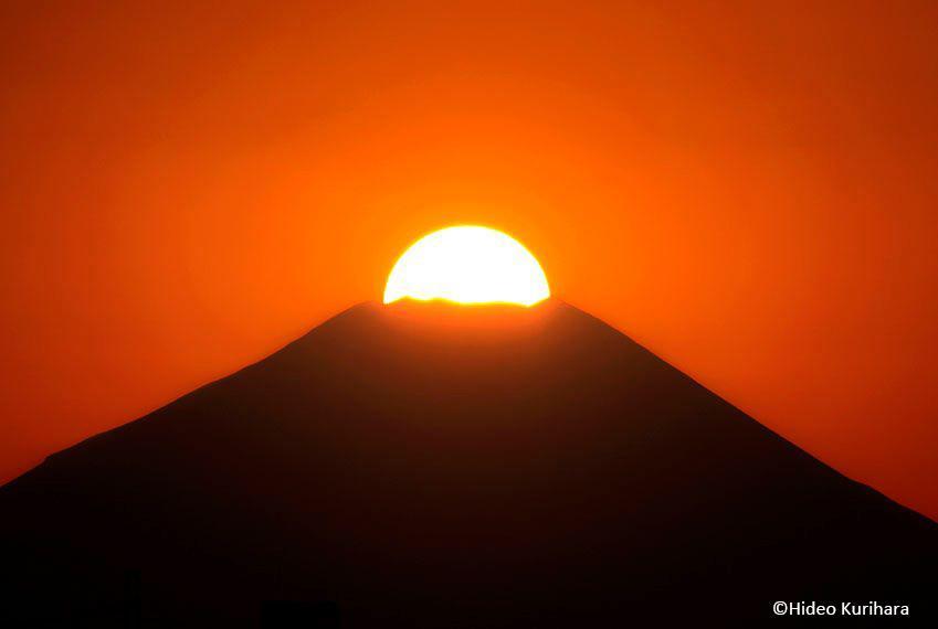 「ダイヤモンド富士」1月4日に立川市日野橋付近で撮影
