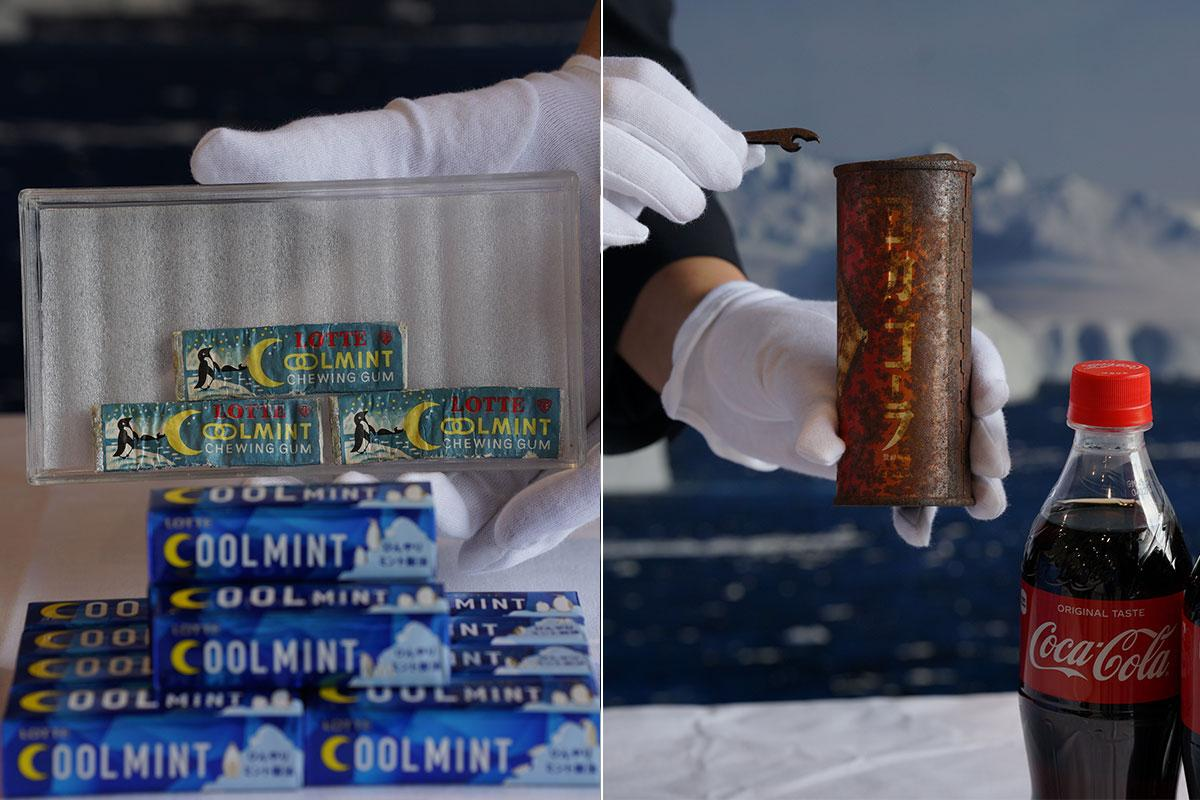 南極で発見された「ロッテ クールミントガム」と「コカ・コーラ」缶