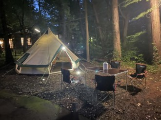 東大和の料亭「貯水池 鳥山」の庭がキャンプ場に 手ぶらで日帰り利用