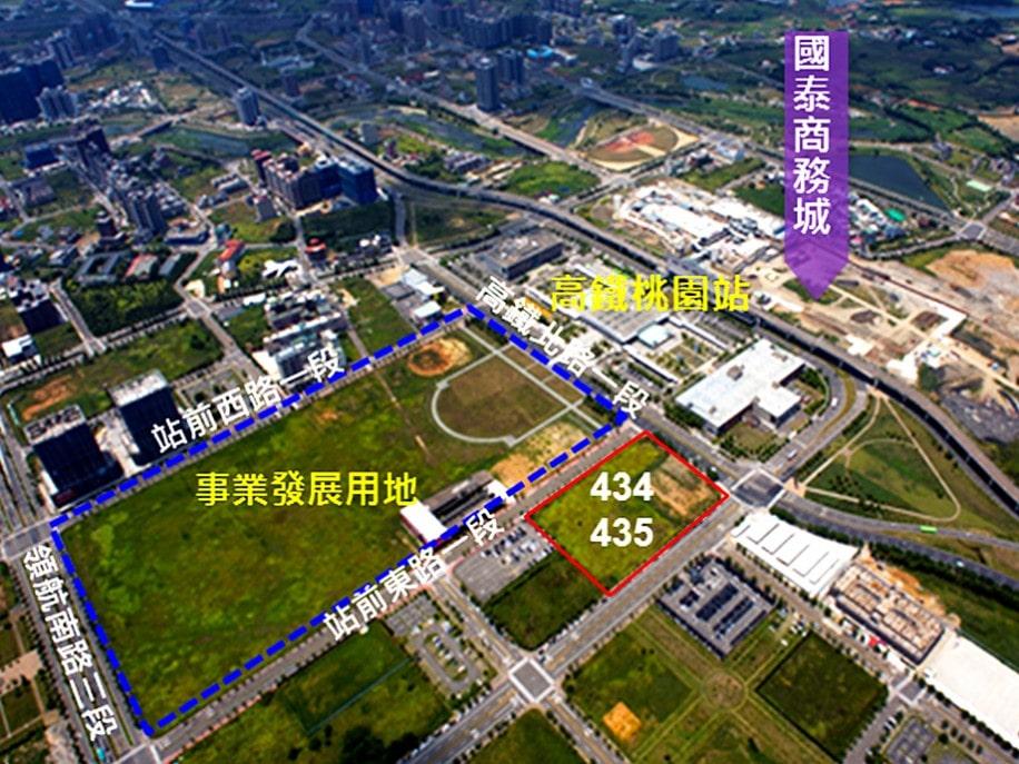 イケア建築予定地は高鉄桃園駅前の土地(青い枠部分):交通部提供画像