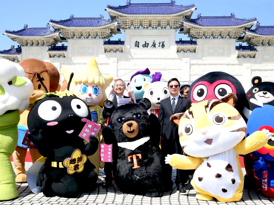 旧正月に合わせ着物姿を披露した「ソラカラちゃん」はじめ、台湾各地のゆるキャラが勢揃い