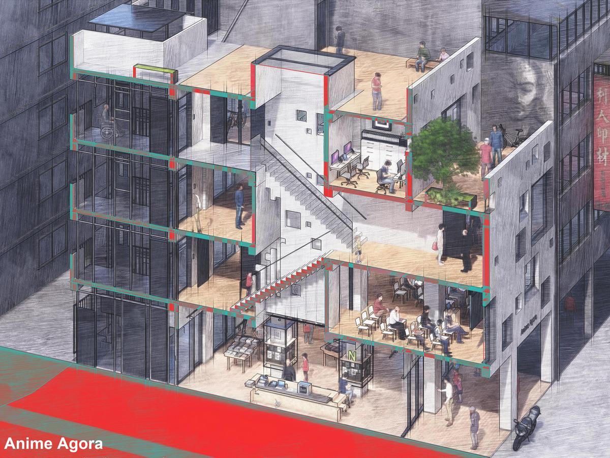 築52年のオフィスビルをリノベーションして作られた台湾の漫画基地「Anime Agora」(画:UPGA瓦建設計)