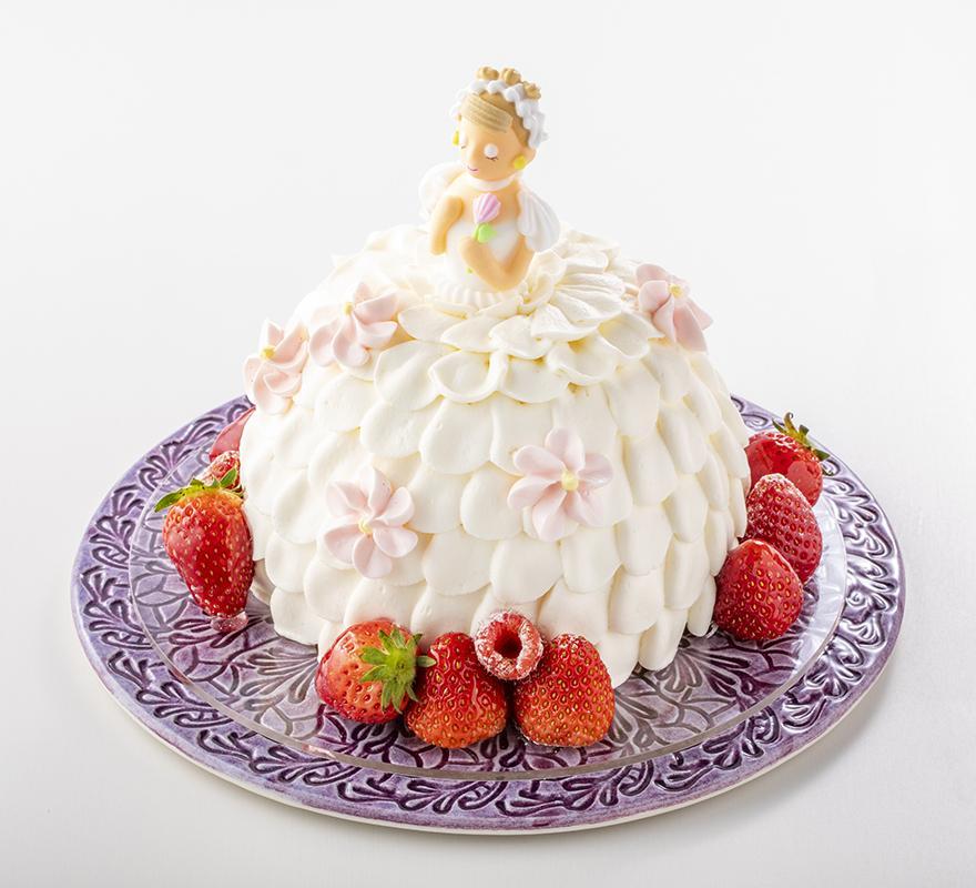 人形のようなデコレーションケーキ「スイートレディ」のドレスのデザインを公募する(画像は定番の「ホワイト」)