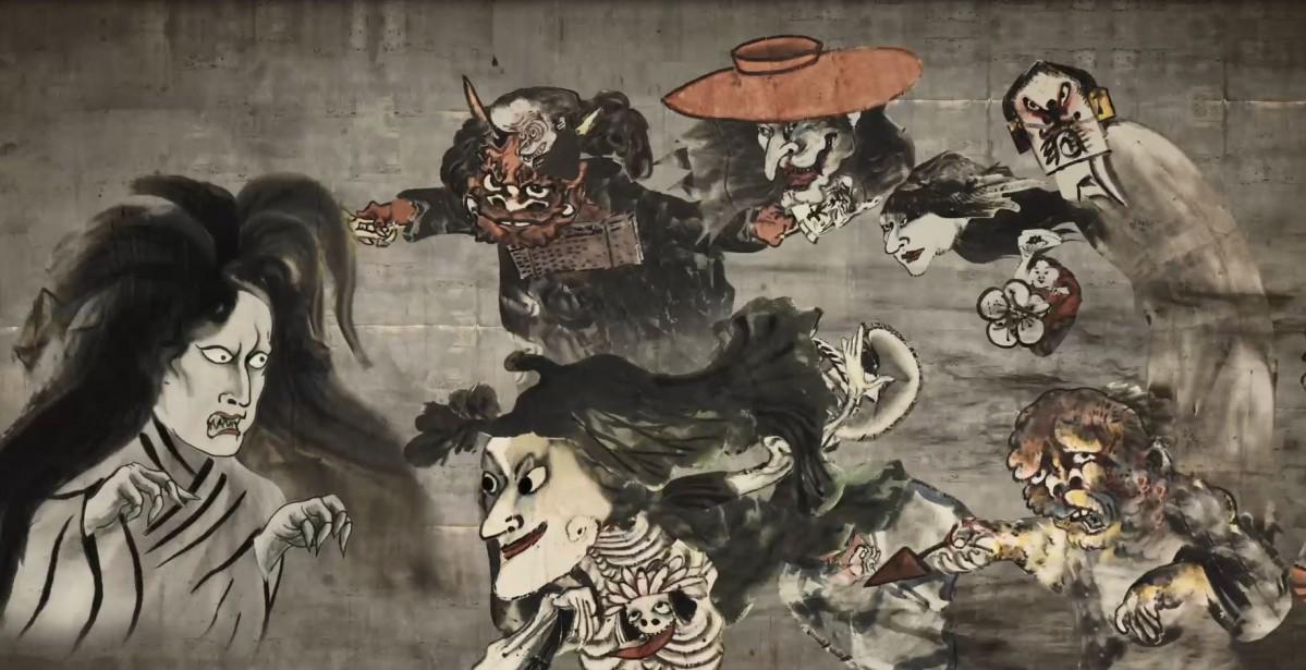 河鍋暁齋画「新富座妖怪引幕」アニメーションによる世界観の再現(提供:凸版印刷株式会社)