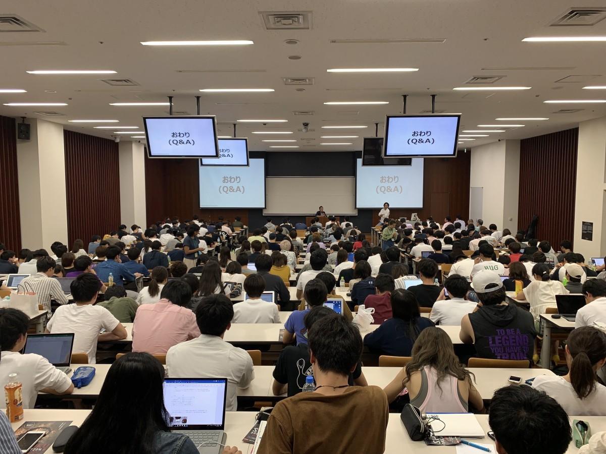 今野さんが登壇した早稲田大学商学部の講義「起業家養成講座1」の様子
