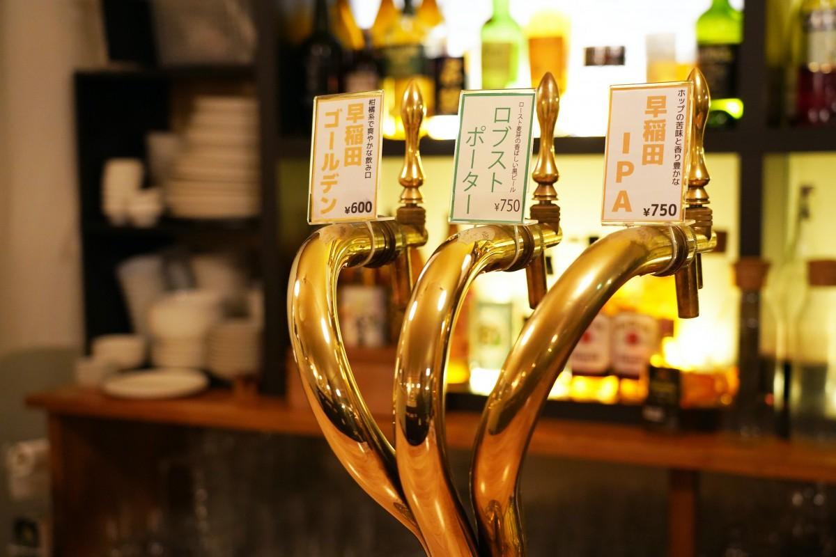 早大前のレストランバー「NEW SCHOOL」にある3種類の生ビールを提供できるビールサーバー