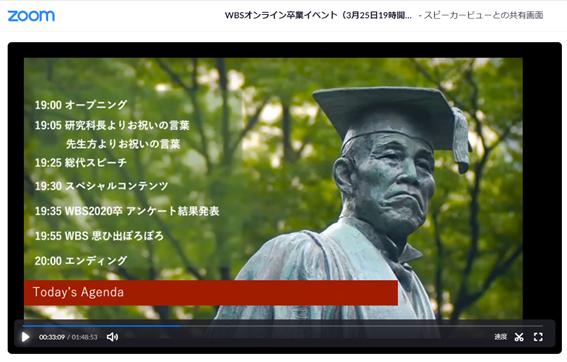 「早稲田大学ビジネススクール」の修了生有志が企画した「オンライン卒業イベント」の次第
