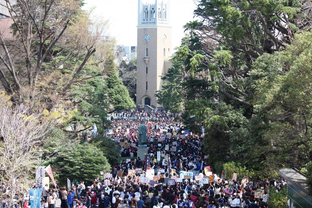 2019年4月に行われた早稲田大学の新歓の様子