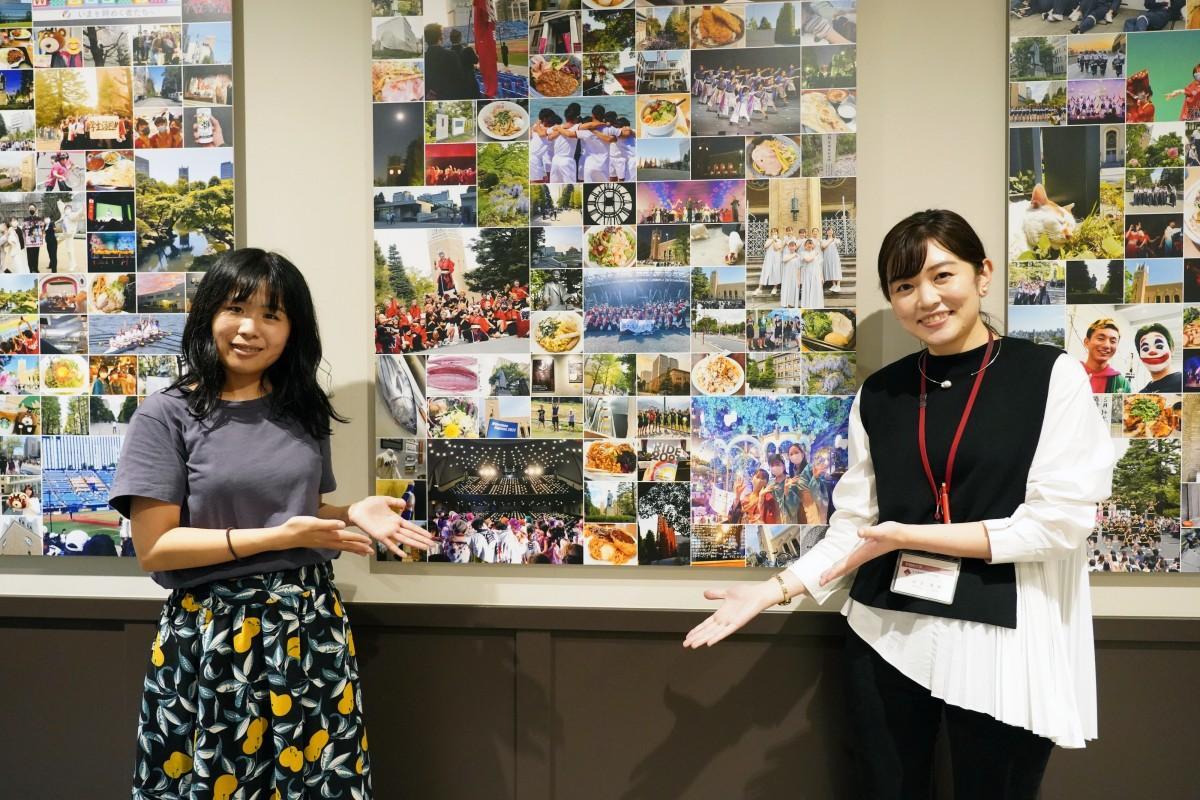 「みんなでつくるフォトミュージアム」を企画した文化推進学生アドバイザーの土屋舞華さんと早稲田大学文化推進部文化企画課の武笠真結さん(左から)