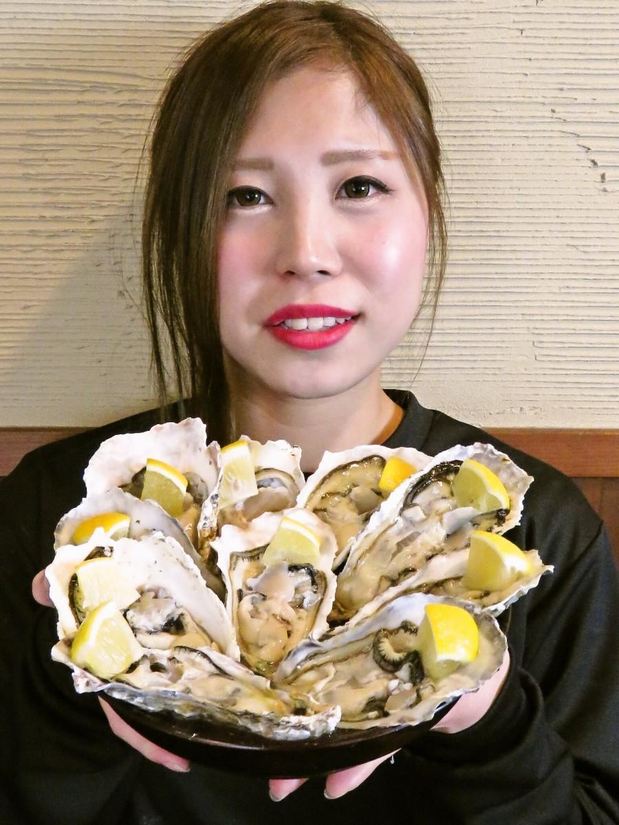 牡蠣とスタッフ