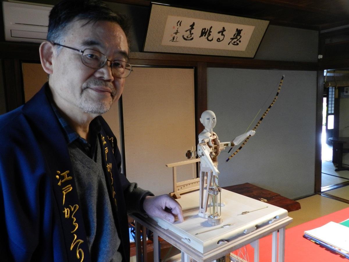 高砂のからくり人形作家がオリジナル作品 半年間の設計図制作を経て「機巧」完成