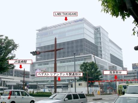 高崎駅とヤマダ電機はペデストリアンデッキで直結される。デッキは店舗オープン約1週間前に部分的に開通する