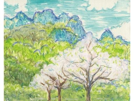 「妙義」2008年、油彩、キャンバス3号。妙義山の稜線を象った青が「横田ブルー」