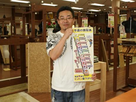 改装中の店舗で、水曜日ごとに価格を下げるシステムを説明する店長の江上さん