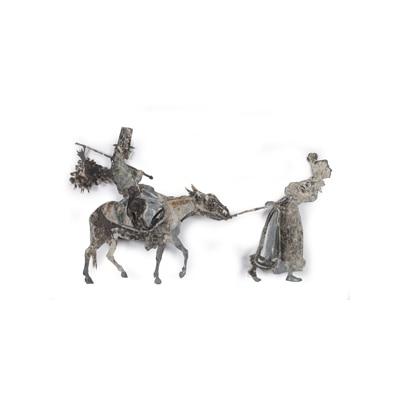 影絵芝居「ロバを引く女」に使われた影絵の亜鉛版、作者不詳(個人蔵)