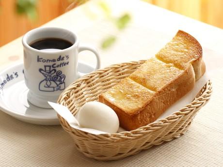 「コメダ珈琲店」の無料モーニングサービス、トーストとあたたかいゆで卵