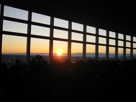 21階、高崎市役所展望ロビーからの初日の出