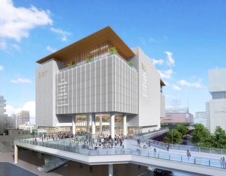 JR高崎駅西口のペデストリアンデッキとつながる店舗のファザードデザイン