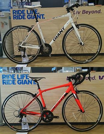 上が「クロスバイク」(レンタル料金3,240円)、下が「ロードバイク」(レンタル料金5,400円)、時間はいずれも5時間