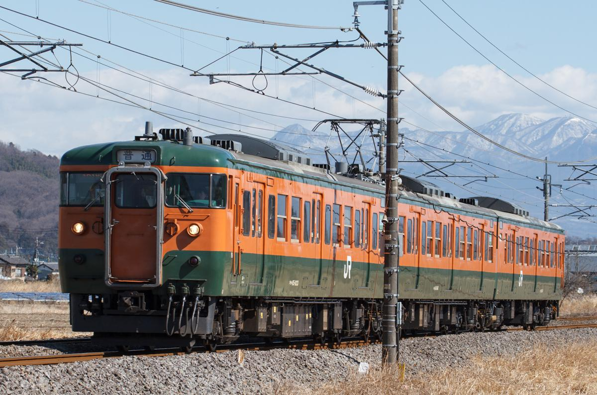115系電車は色合いから「かぼちゃ電車」や「みかん電車」などの愛称で親しまれてきた