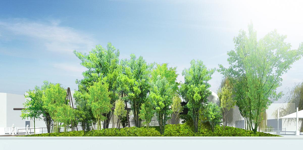 「太陽の鐘」完成イメージ。幅40メートル、奥行き6メートルのスペースに設置し、大きな樹木で覆うとみられる (C)藤本壮介建築設計事務所提供