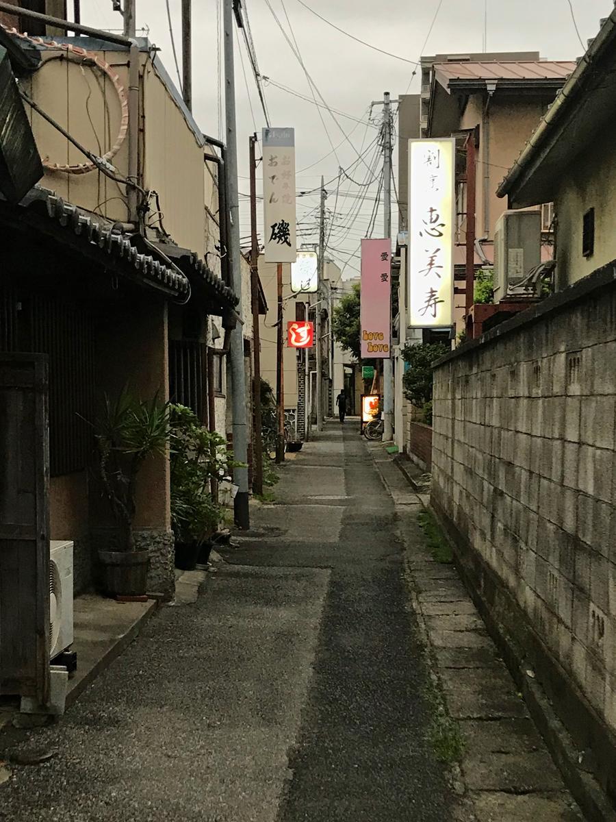 路地裏ビアガーデンが開かれる路地。伊勢崎駅から徒歩15分、東武伊勢崎線新伊勢崎駅から10分