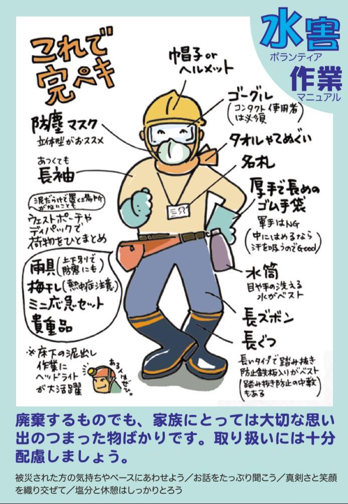 わかりやすいと評判の「水害ボランティア作業マニュアル」から水害現場に適する服装(C)震災がつなぐ全国ネットワーク