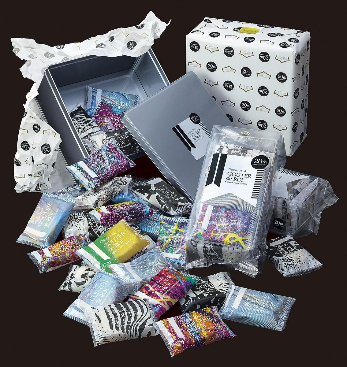 20周年記念パッケージのデザイン(個袋)は3000パターン。作品をランダムに拡大縮小、トリミングしデジタルプリントしたもの