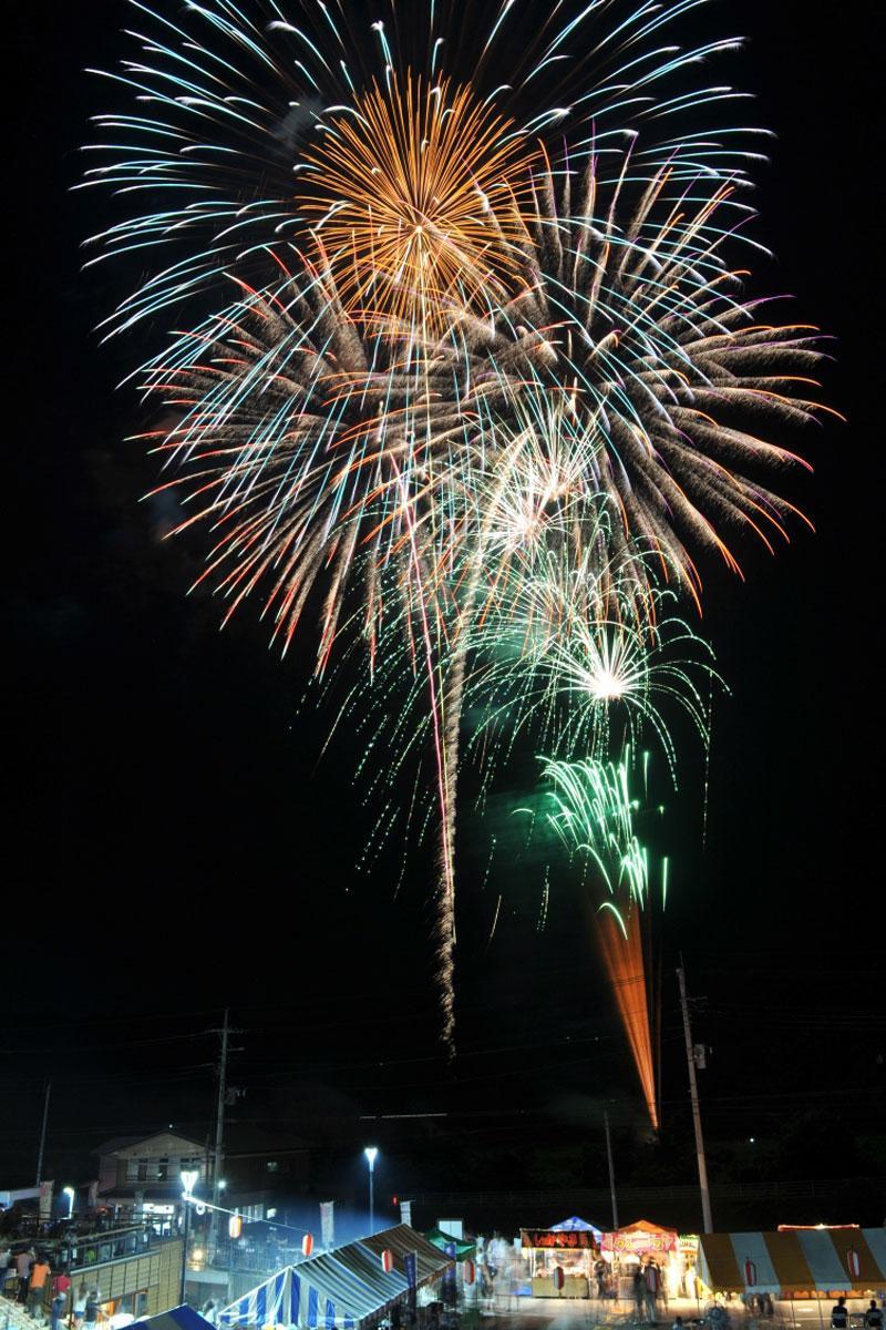 当日は7号玉も打ち上げられるとみられる。写真は倉渕の花火大会で打ち上げられた7号玉