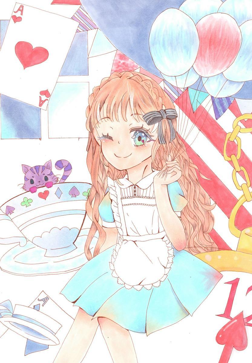イラスト部門小学生大賞(ワコム大賞)のMayuさんの「アリスとチェシャ猫のお茶会」