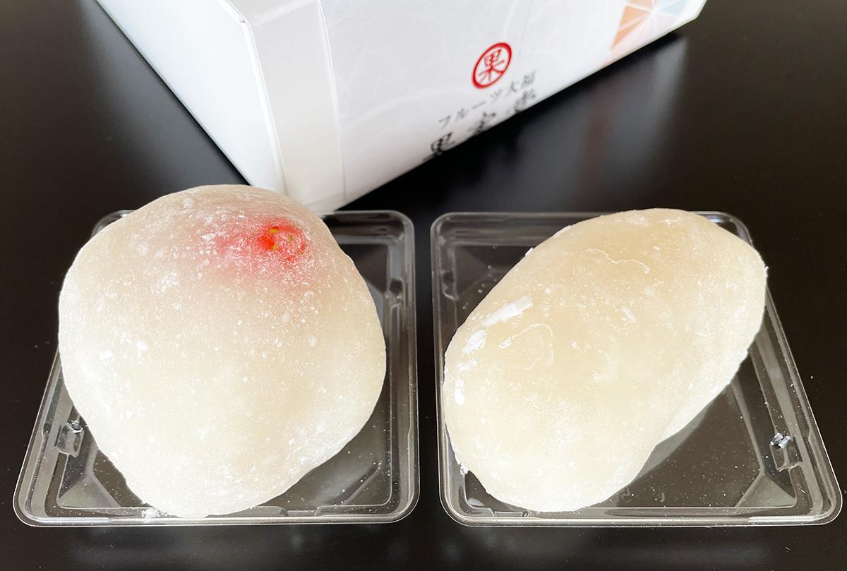 左「群馬県産やよいひめ」(380円)、右「青森原産サンふじ」(280円)