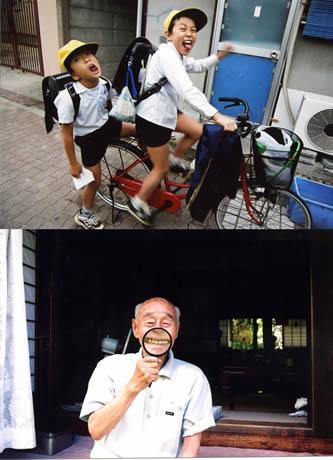 イムズで写真家・梅佳代さん九州初の写真展が開催 (写真上から)「男子」「じんちゃんさま」