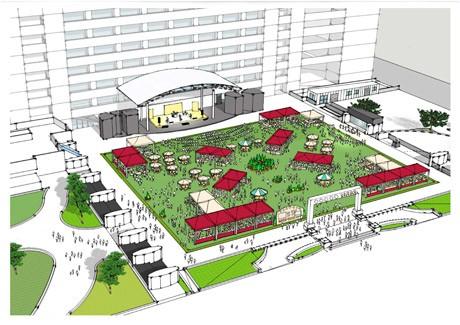 福岡市役所前ふれあい広場の完成イメージ