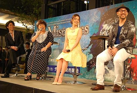 (左から)上原理生さん、森公美子さん、知念里奈さん、福井晶一さん
