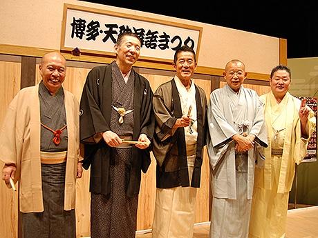 (左から)瀧川鯉昇さん、柳亭市馬さん、三遊亭円楽さん、笑福亭鶴瓶さん、立川生志さん