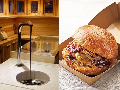 ハンバーガー「アダムバーガーフィーチャリングカカオ研究所」(右)と蛇口からチョコレートが出る「ホットチョコ」